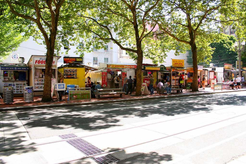 Food carts along the street in Portland