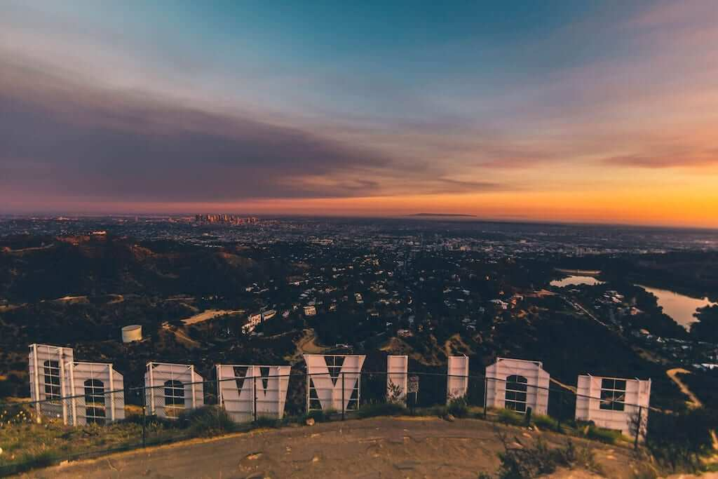 Back of the Hollywood sign during sunset