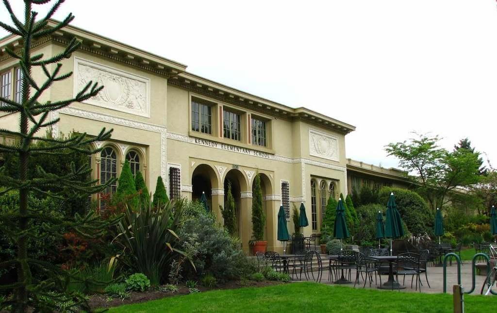 The facade of Kennedy School
