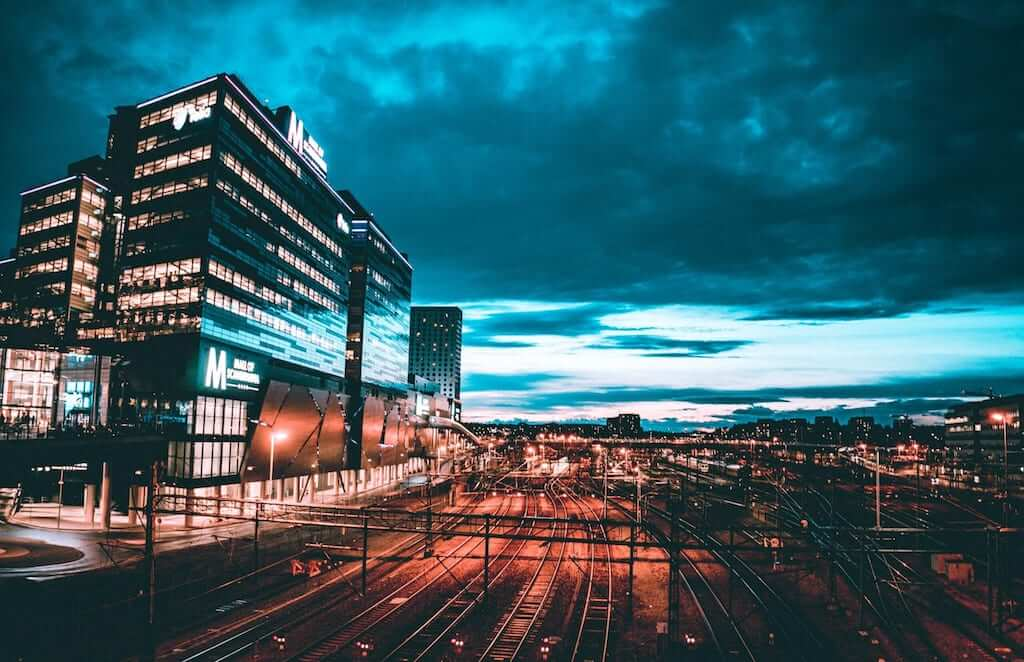 Buildings and the road in Sweden