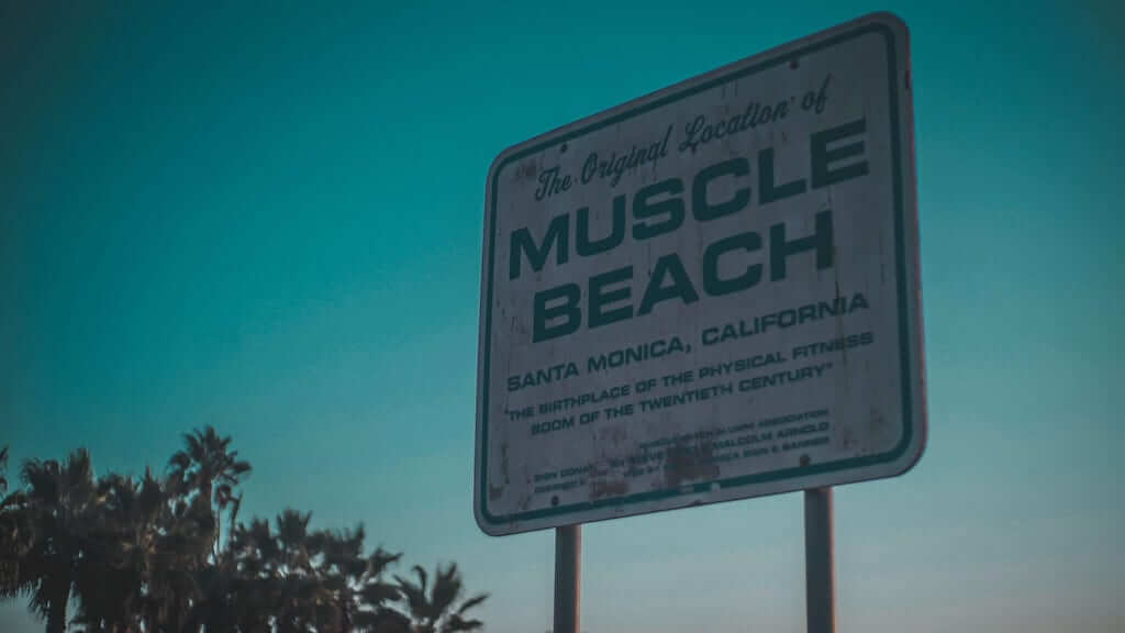 Sign saying the original location of Muscle Beach in Santa Monica