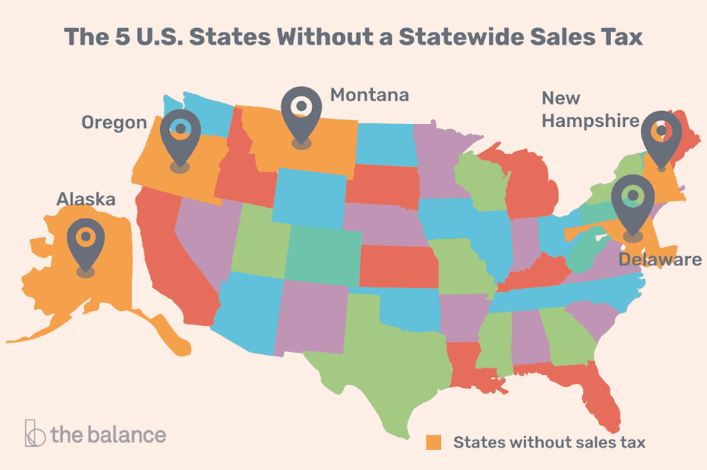 the 5 states in the US without a statewide sales tax