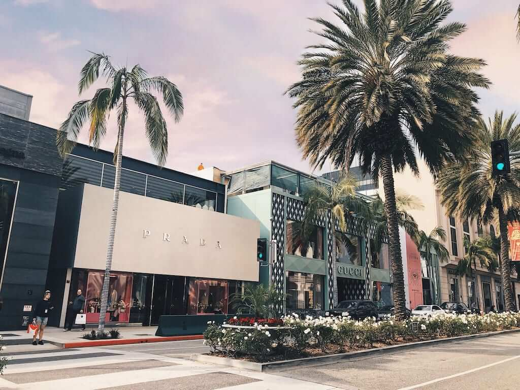 Prada and other brands along Rodeo Drive in LA