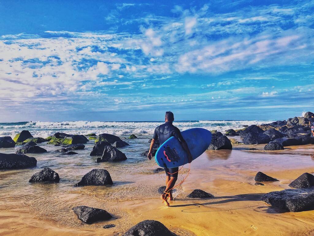 A surfer in Gold Coast, Australia
