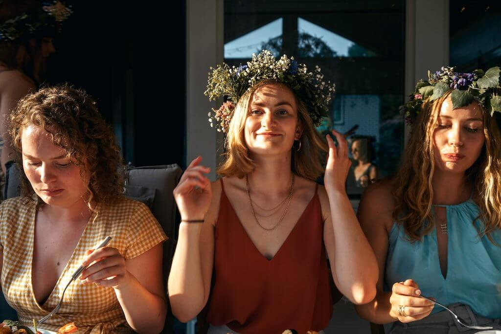 Swedish girls with flowers in hair
