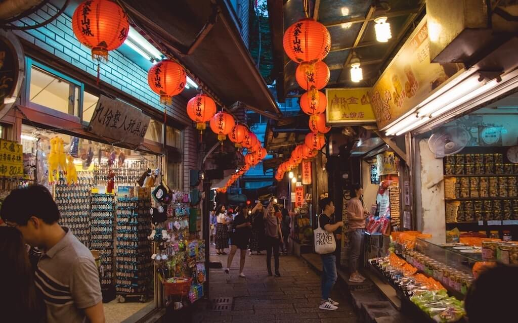 streets of a taiwanese market at night