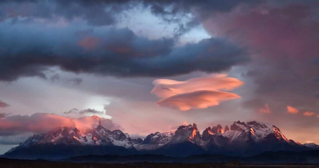 the skies of Torres del Paine National Park in the Chilean Patagonia