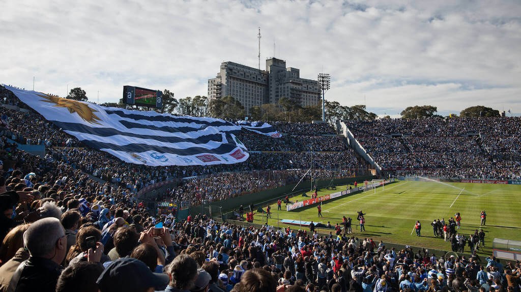 Soccer match in a stadium in Uruguay