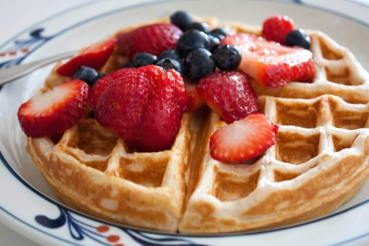Waffles with berries on top