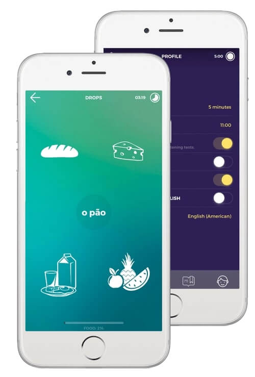 Learn Portuguese vocabulary with Drops app