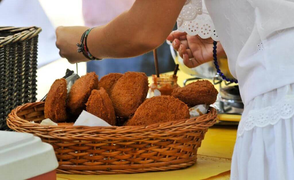 Acarajés, a kind of black-eyed pea fritters, are one of the icons of the cuisine of the northeastern state of Bahia.