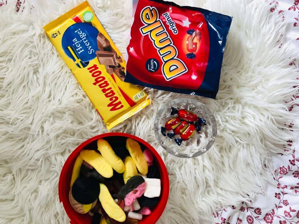 an assortment of swedish snacks and candies