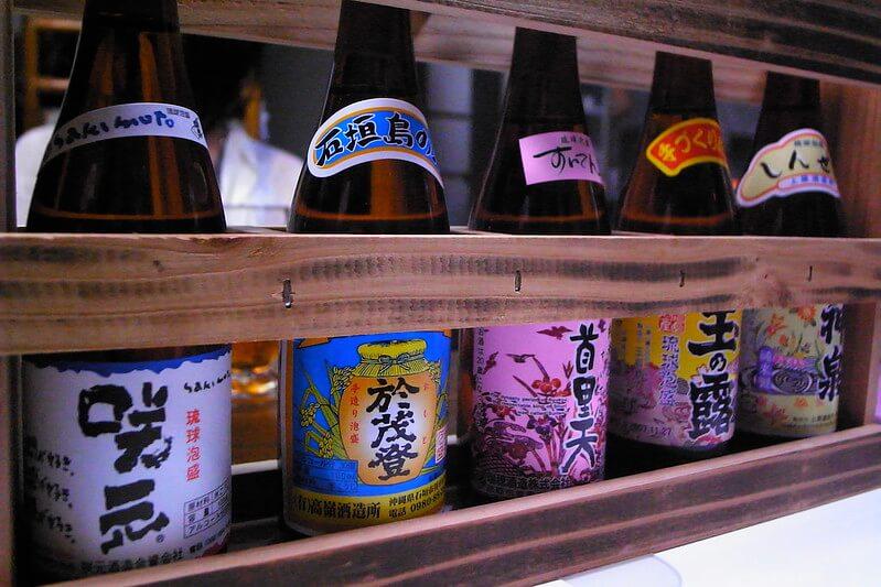 Bottles of Japanese awamori