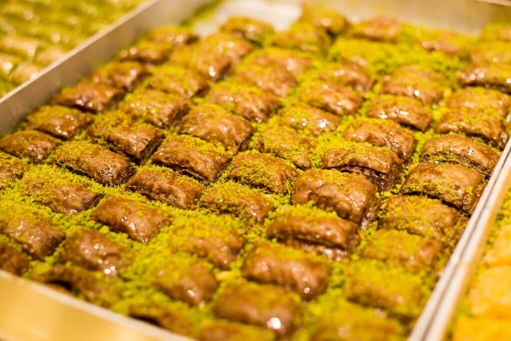 a tray of baklava