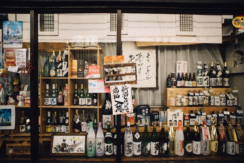 Bottles of Japanese alcohol at the shopfront