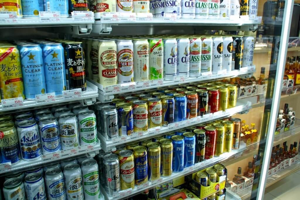 Japanese beer cans in the store fridge
