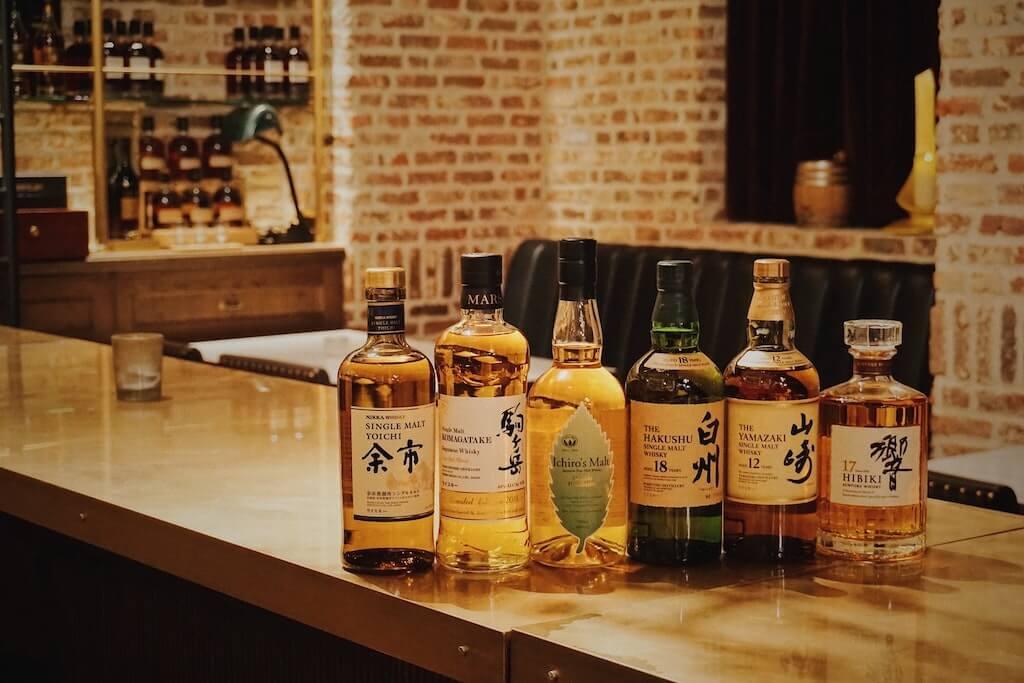 Bottles of Japanese whisky in the restaurant