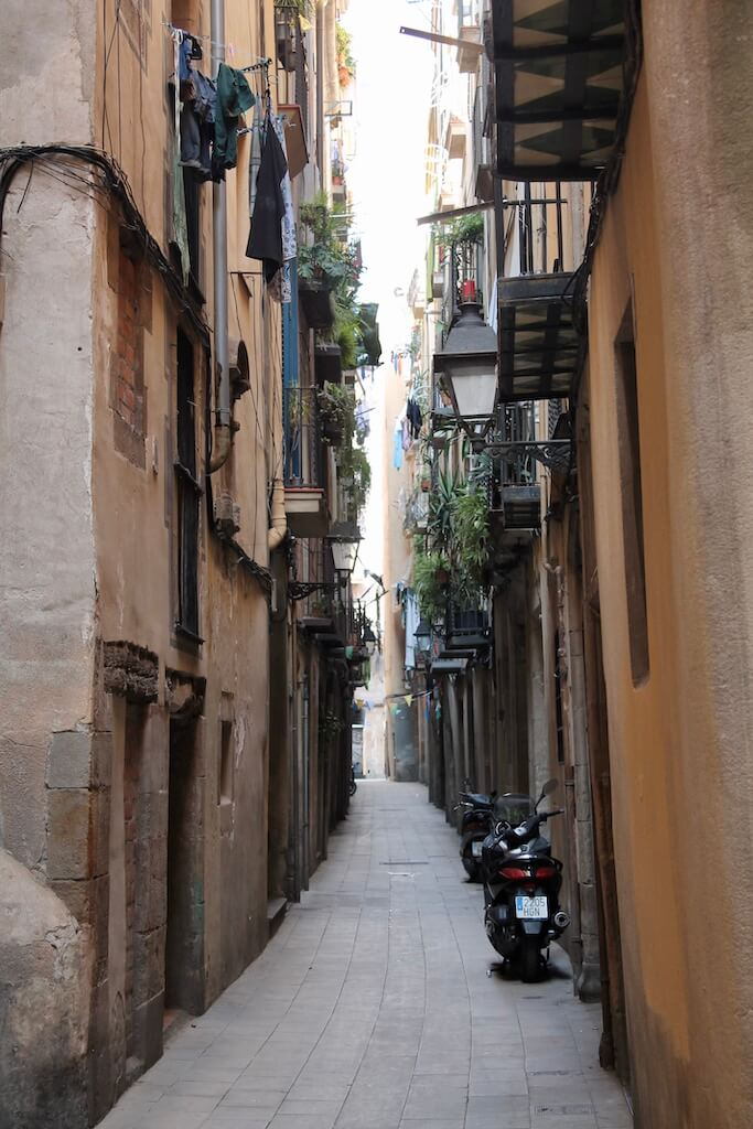 Streets of the Gothic Quarter in Barcelona