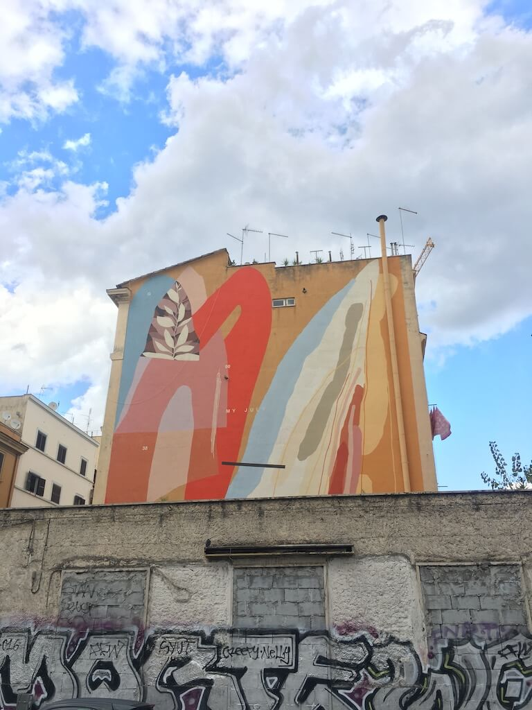 Street art on a building in Rome