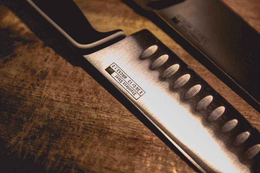 A stainless steel knife