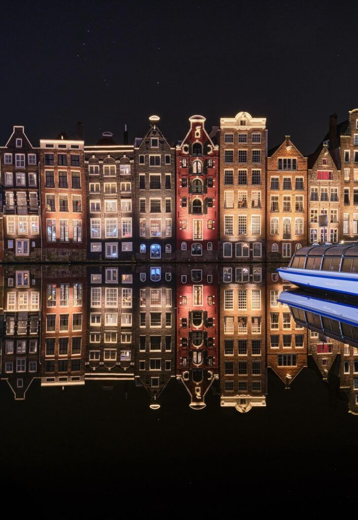 Amsterdam townhouses at night