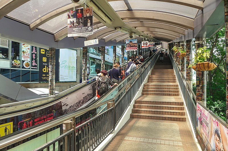 The 800-meter-long Central—Mid-Levels Escalator