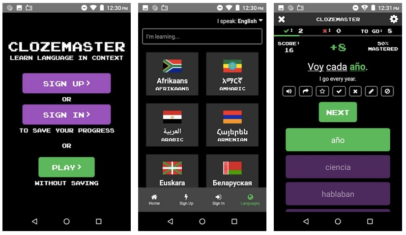 learn a language with clozemaster