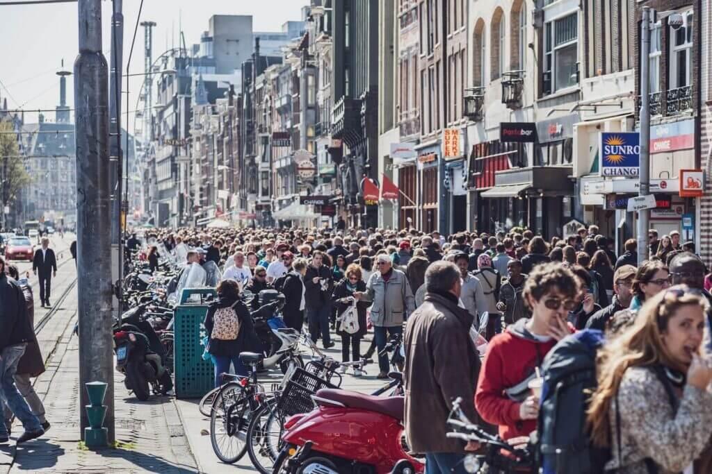 Crowds on Amsterdam street