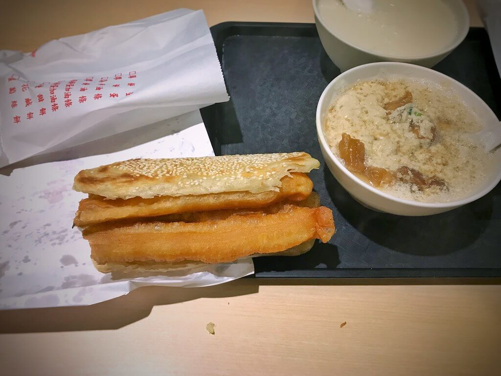 soymilk and fried dough or youtiao