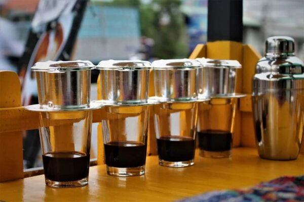 dripping vietnamese coffee with a phin filter
