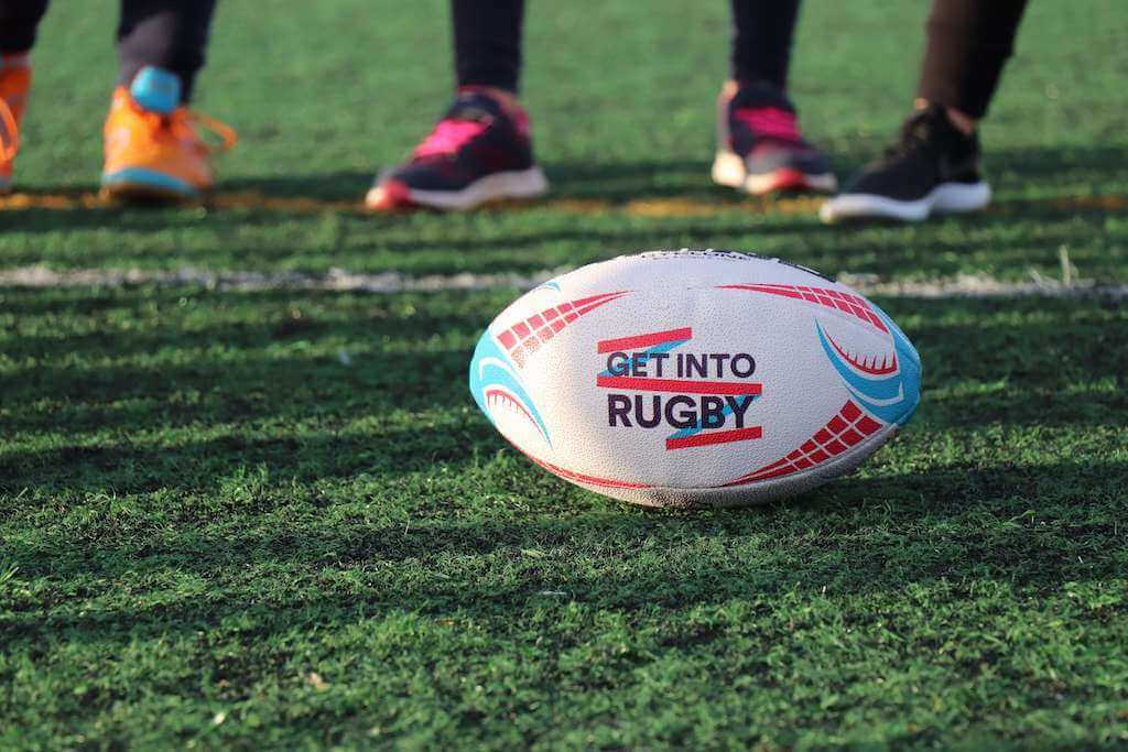 Rugby ball on a field