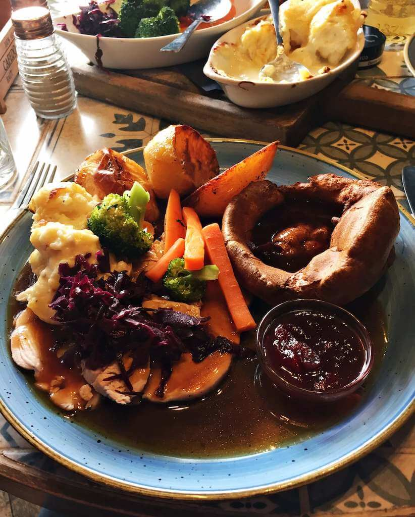 An English sunday lunch or sunday roast