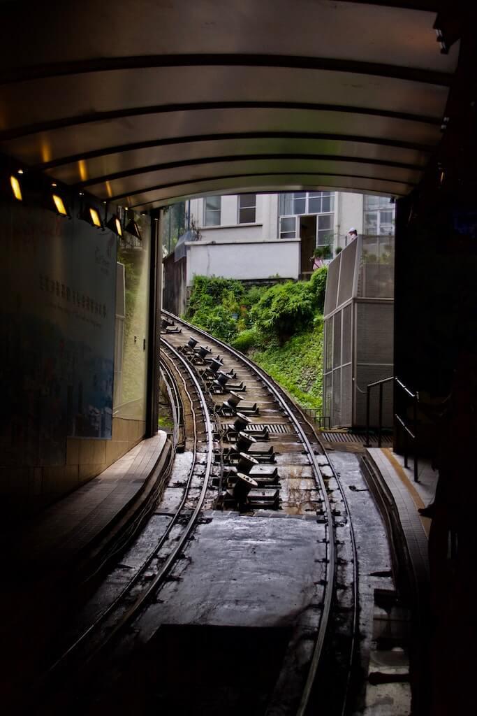The tram ride to The Peak, Hong Kong