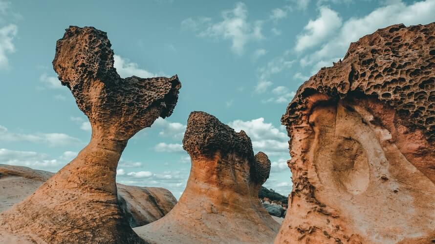 Rock formations in Yehliu Geopark