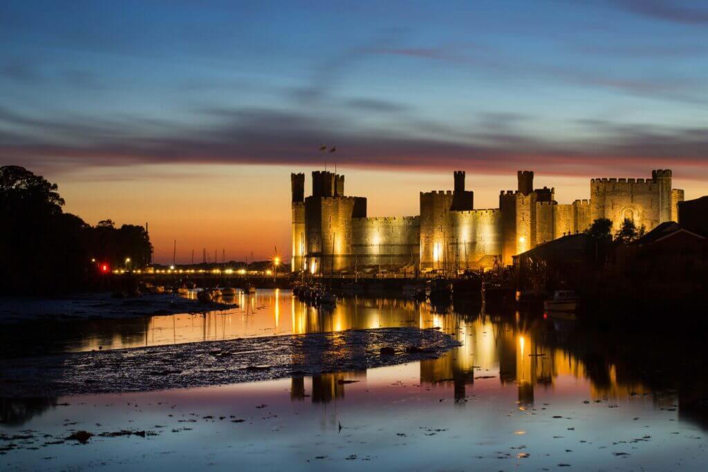 Caernarfon Castle at night