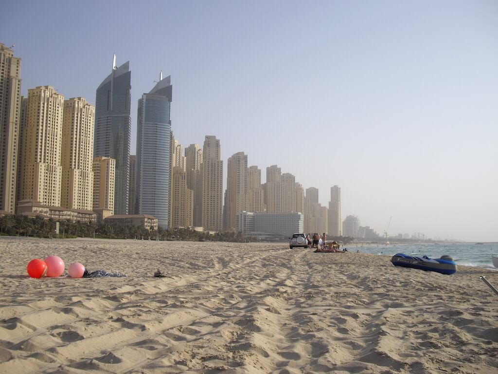 The lively beachfront neighbourhood of Jumeirah Beach Residence (JBR) in New Dubai is very popular with residents and tourists.