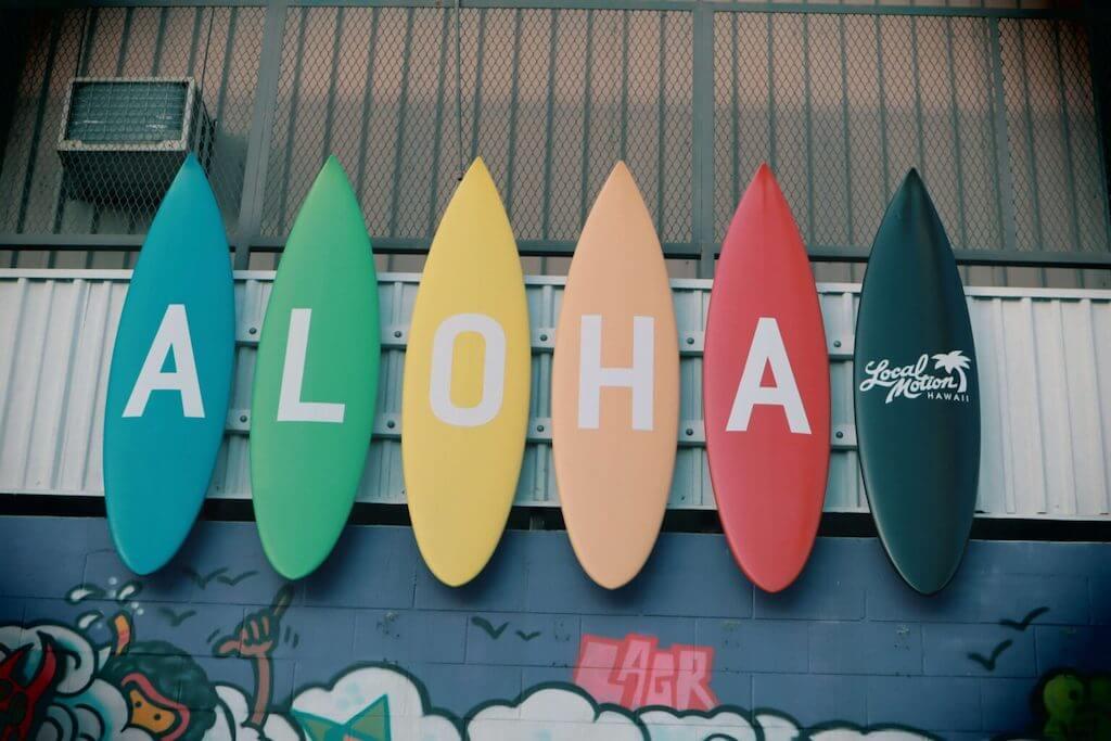 Surfboard that spell ALOHA