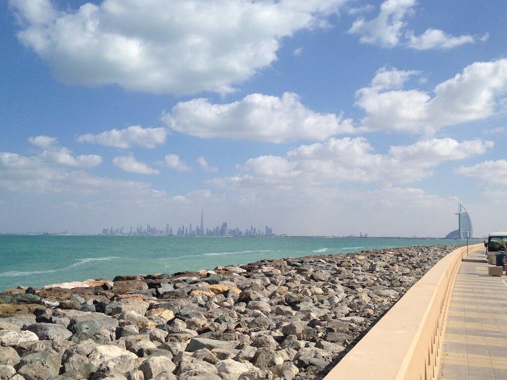 Dubai skyline as seen from the Palm Jumeirah
