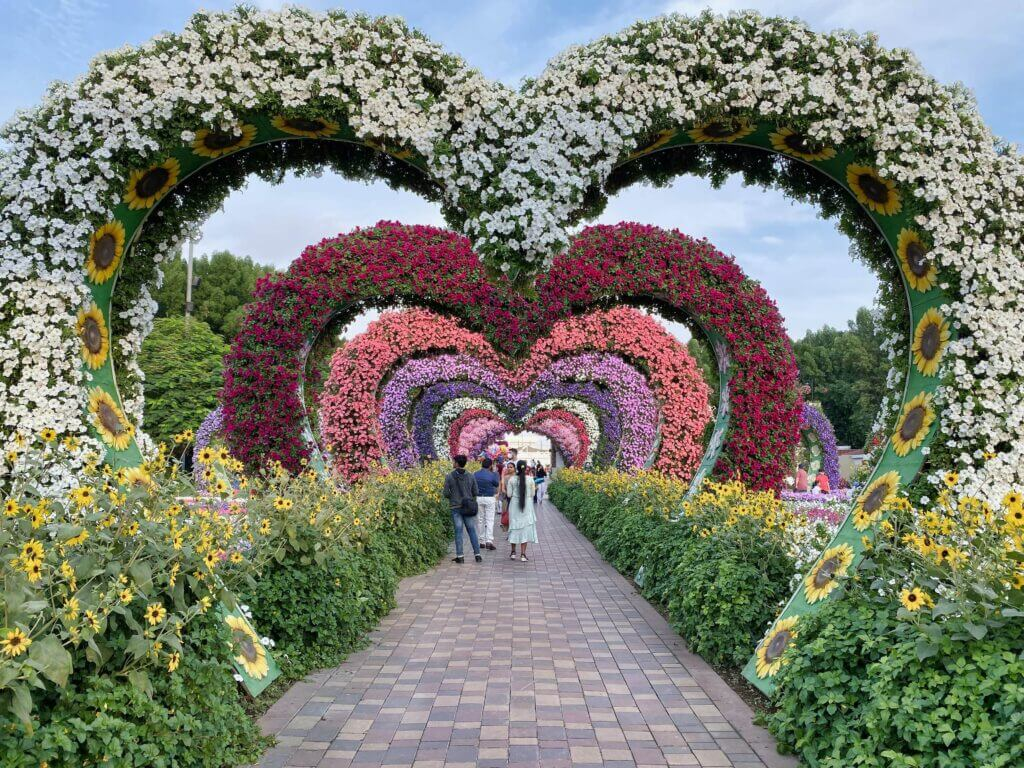 Heart-shaped decoration in a garden
