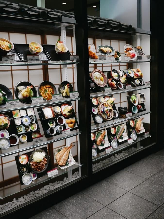 food models outside a japanese restaurant