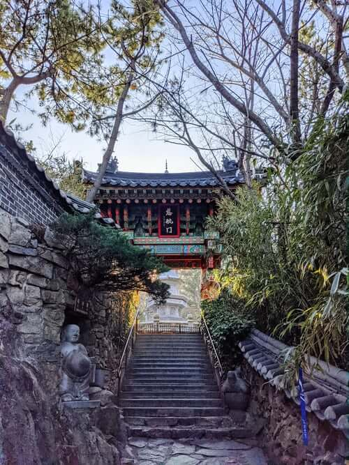 korean temple atop the stairs