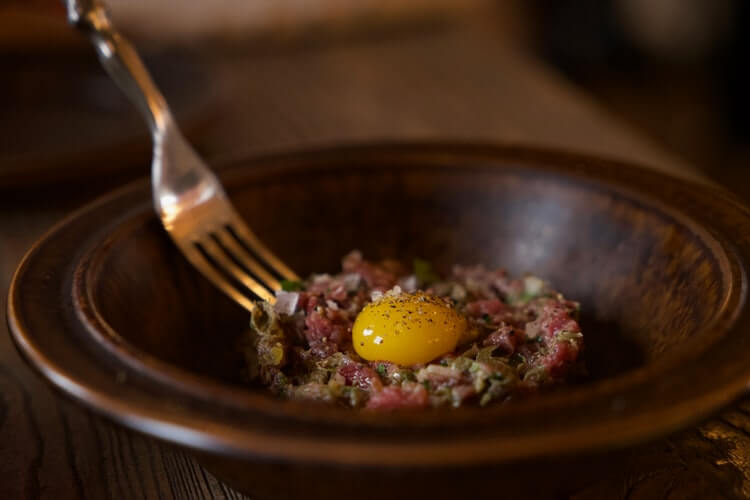 raw beef with egg