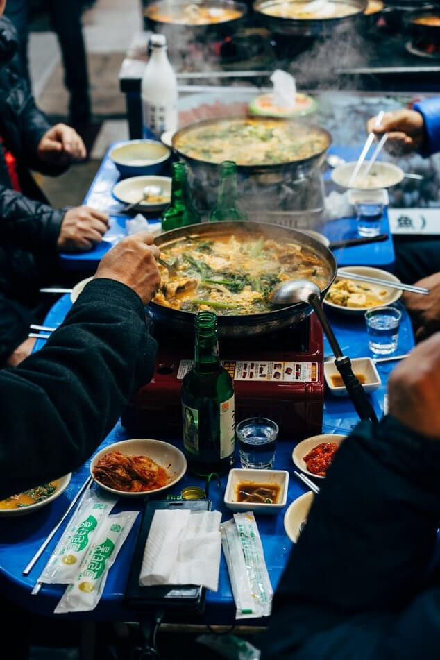 sharing a meal in korea