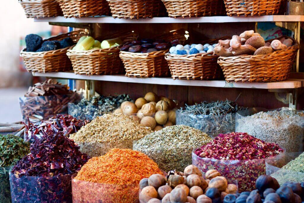 Spices in a market stall