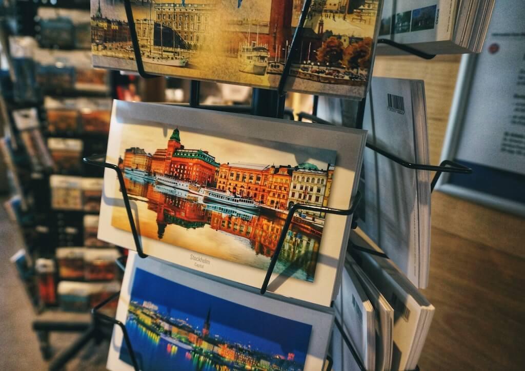 A postcard is a classic Swedish souvenir