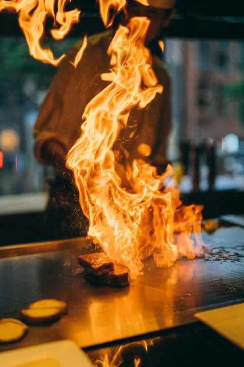 fire on teppanyaki