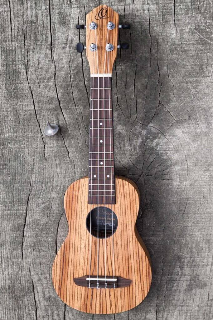 A wooden ukelele