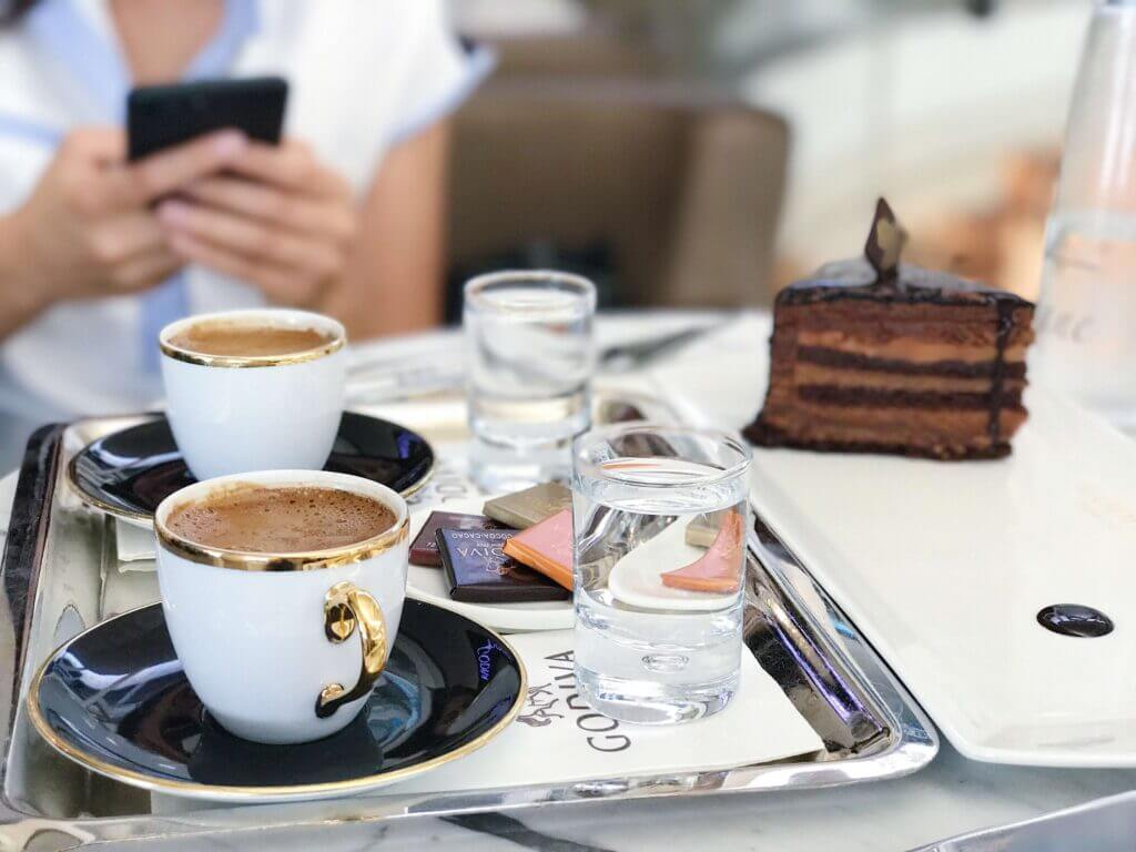 coffee and cakes in an austrian coffee shop