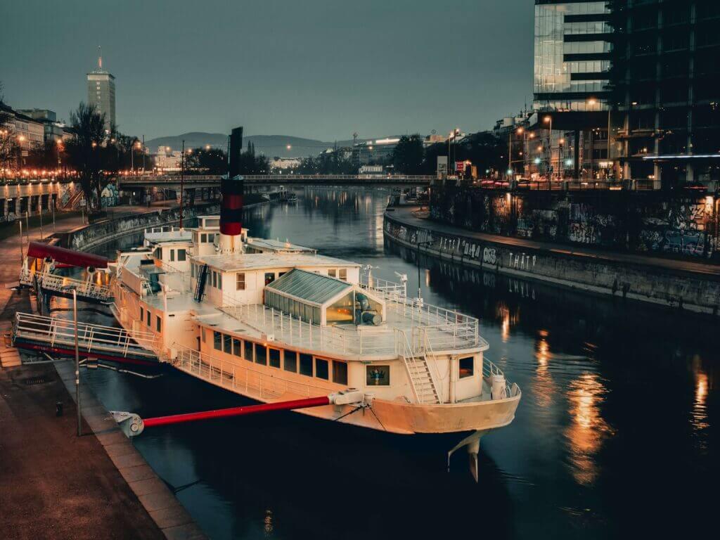 Boat docked on the Danube in Austria