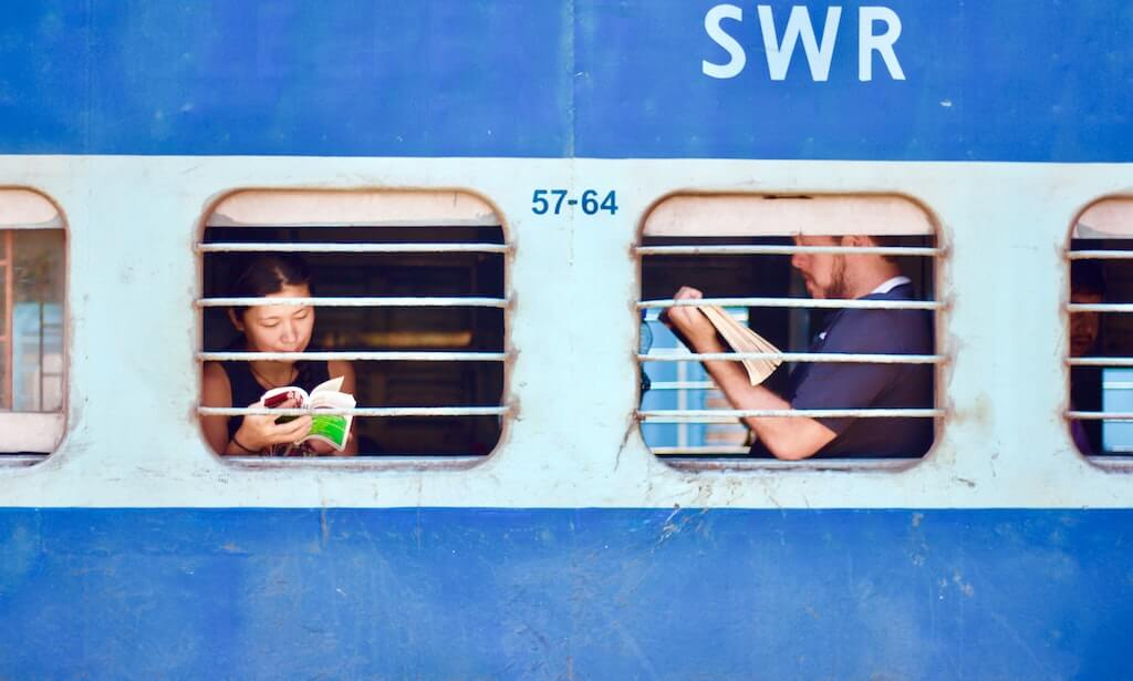 people reading books on trains